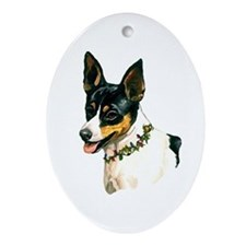 Rat Terrier Oval Ornament