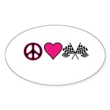 PeaceLoveRace Oval Decal