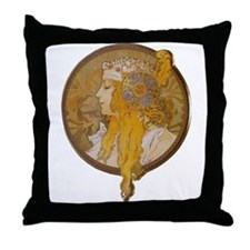 Alphonse Mucha Throw Pillow