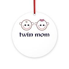 Twin Mom (boy & girl) Ornament (Round)