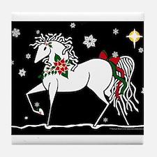 Silent Night Christmas Horse Tile Coaster