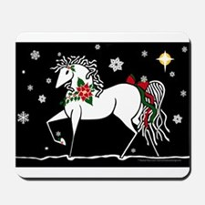 Silent Night Christmas Horse Mousepad