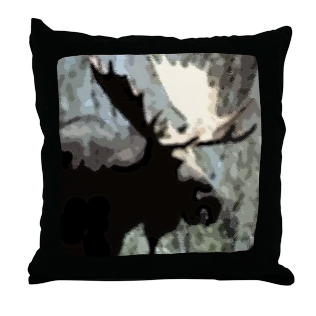 Rustic Moose Throw Pillow by musicalartworks