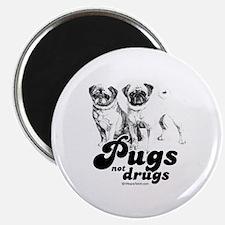 """Pugs not drugs - 2.25"""" Magnet (100 pack)"""