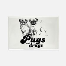 Pugs not drugs - Rectangle Magnet
