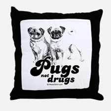 Pugs not drugs -  Throw Pillow