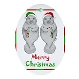 Manatee christmas Oval Ornaments
