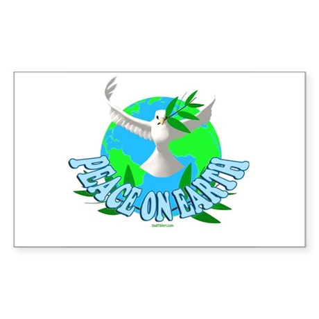 Peace On Eaarth Holiday Rectangle Sticker