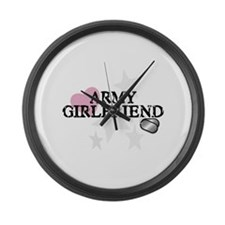 Army Girlfriend (distressed) Large Wall Clock