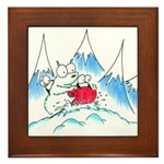 polar bear and penguins Framed Tile