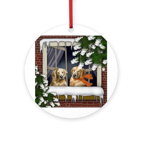 Golden Retriever Dogs Winter Ornament (Round)