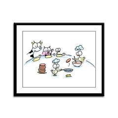 chickens cooking pancakes Framed Panel Print