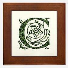 Ivy Leaf Monogram C Framed Tile