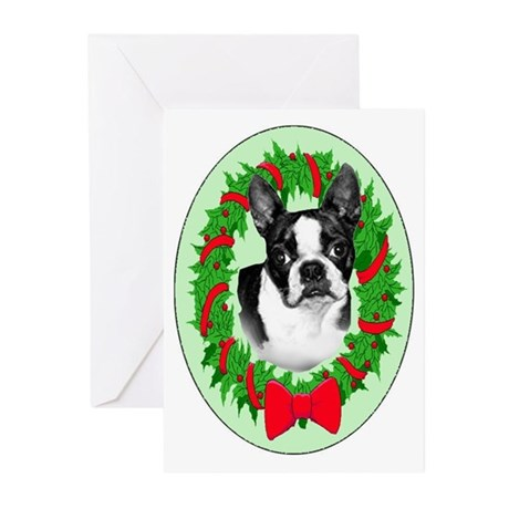 Boston Terrier christmas Greeting Cards (Package o