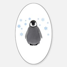 Holiday Penguin Oval Decal