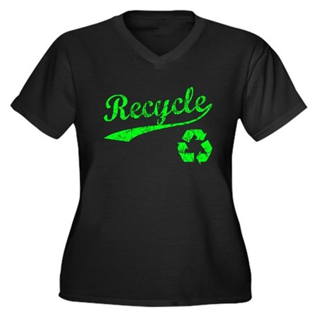 Recycle sports style logo Women's Plus Size V-Neck