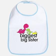 biggest big sister dinosaur shirt Bib