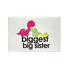 biggest big sister dinosaur shirt Rectangle Magnet