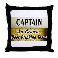 La Crosse Beer Drinking Team Throw Pillow