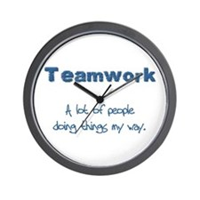 Teamwork - Blue Wall Clock