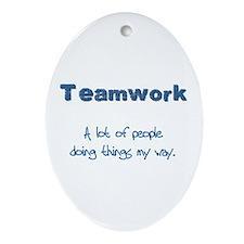 Teamwork - Blue Oval Ornament