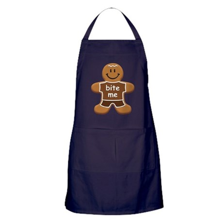 'Bite Me' Gingerbread Man Apron (dark)