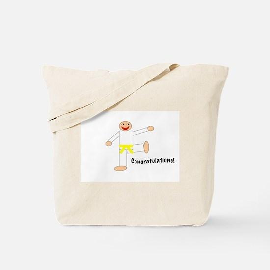 Martial Arts Congratulations Yellow Belt Tote Bag