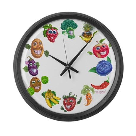 vegetables and fruits Large Wall Clock