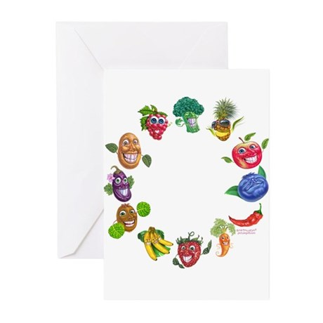 vegetables and fruits Greeting Cards (Pk of 10)