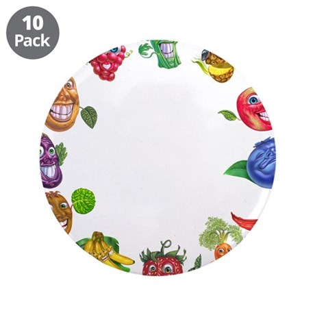 """vegetables and fruits 3.5"""" Button (10 pack)"""