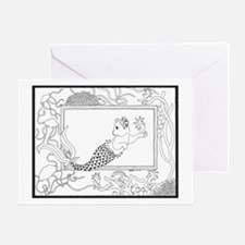 Mercat with seahorse and jell Greeting Card