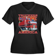 Truckers Drive America Women's Plus Size V-Neck Da