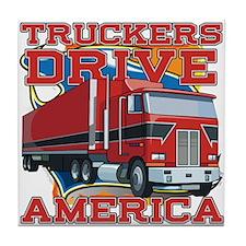 Truckers Drive America Tile Coaster