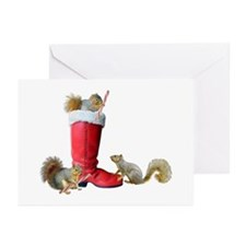 Squirrels in Santa's Boot Greeting Cards (Pk of 10