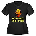 Oba-Mao Tse-Tung Women's Plus Size V-Neck Dark T-S