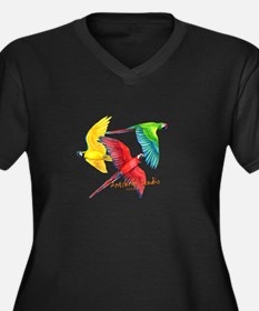 Macaws Women's Plus Size V-Neck Dark T-Shirt