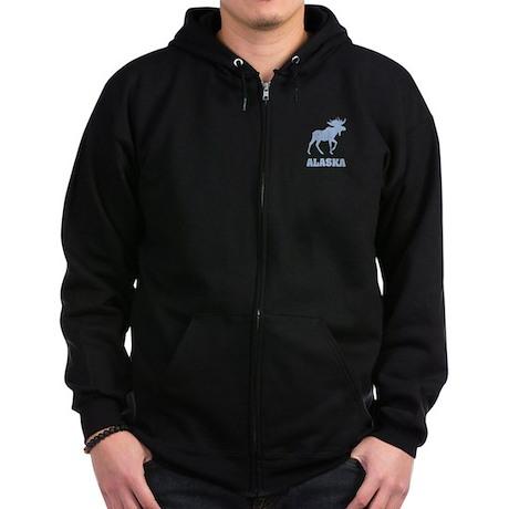 Retro Alaska Moose Zip Hoodie (dark)