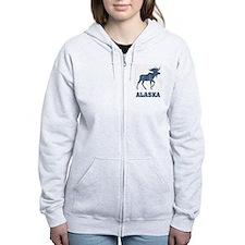 Retro Alaska Moose Zip Hoody
