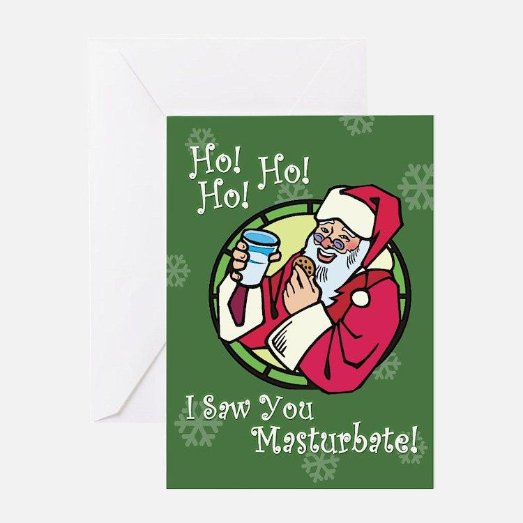 Santa Saw You Masturbate Greeting Card
