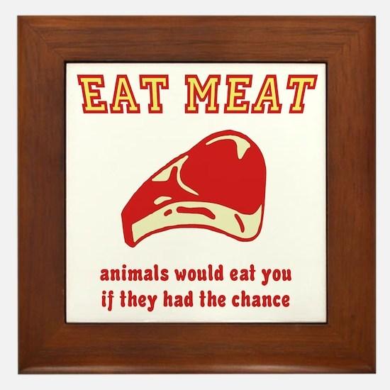 Eat Meat Framed Tile