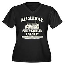 ALCATRAZ SUMMER CAMP Women's Plus Size V-Neck Dark