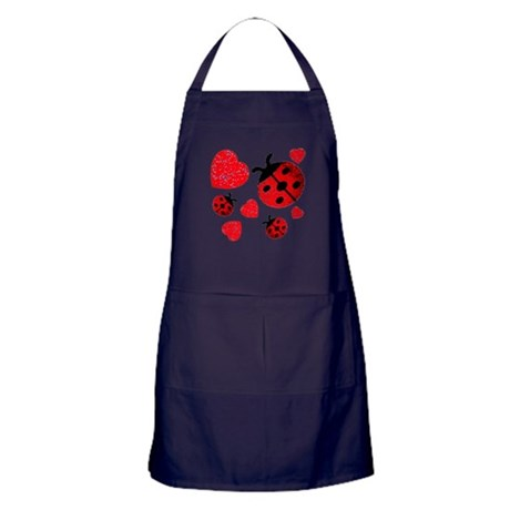 Lady Bugs and Hearts Valentin Apron (dark)