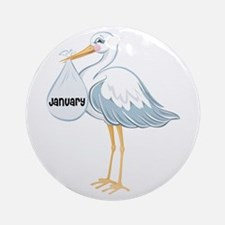 January Stork Ornament (Round)