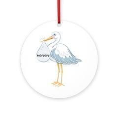 February Stork Ornament (Round)