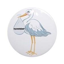 November Stork Ornament (Round)