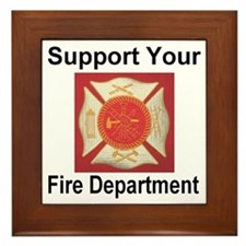 Support Your Fire Department Framed Tile