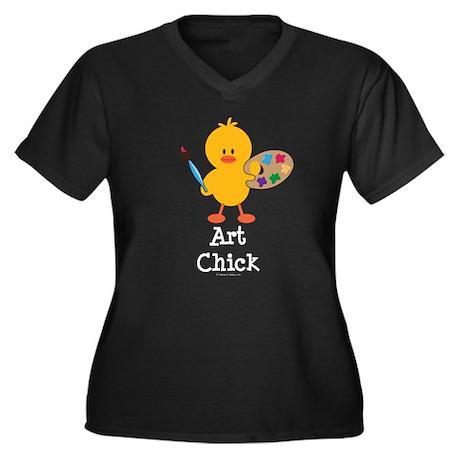 Art Chick Women's Plus Size V-Neck Dark T-Shirt