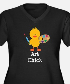 Art Chick Women's Plus Size V-Neck Dark T-Shirt