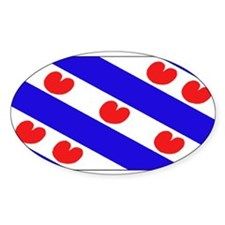 Friesland Frisian Blank Flags Oval Stickers