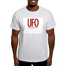 UFO (Red) - Ash Grey T-Shirt